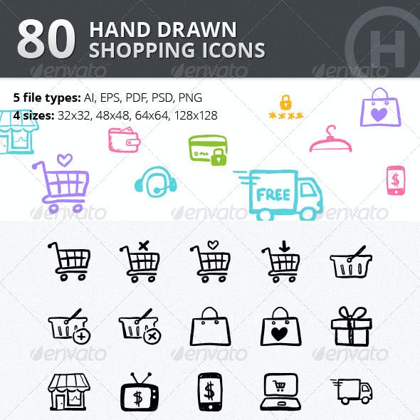 80 Hand-drawn Shopping & Commerce Icons