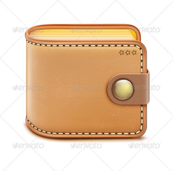 Realistic closed wallet - Objects Vectors