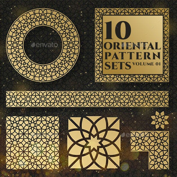 Oriental patterns and design elements collection