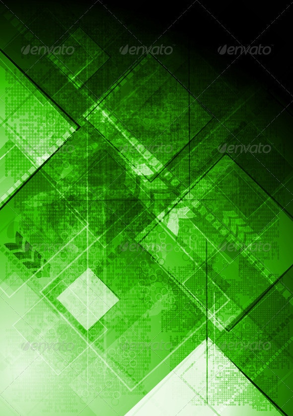 Green tech background. Grunge style - Backgrounds Decorative