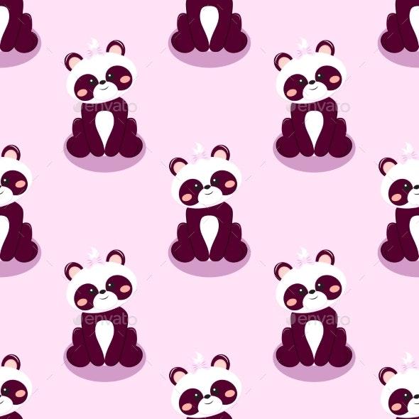 Panda Bear Baby Girl Background - Patterns Decorative