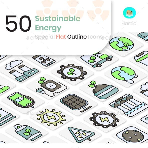 Sustainable Energy Flat Outline Icons