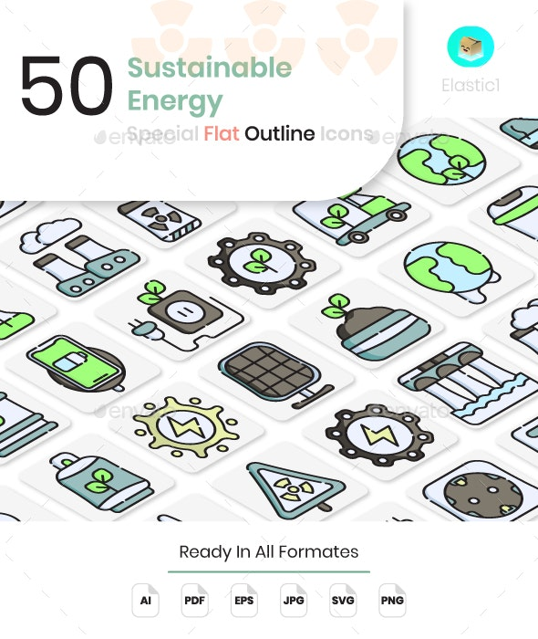 Sustainable Energy Flat Outline Icons - Technology Icons