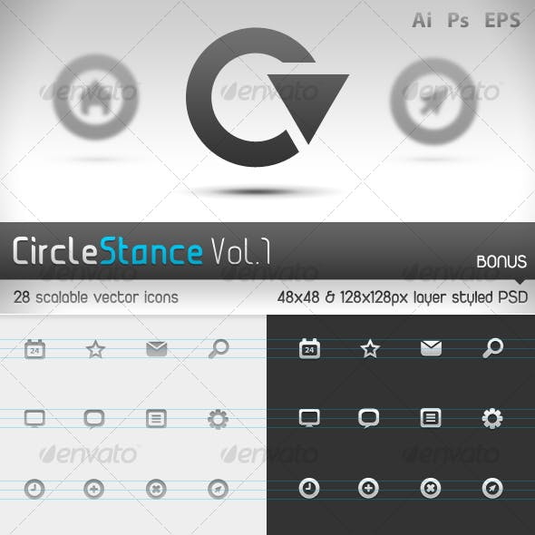 Circlestance Web & App Scalable Vector Icons Vol.1