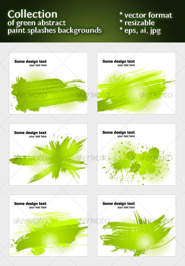 Green abstract paint splashes illustrations - Backgrounds Decorative