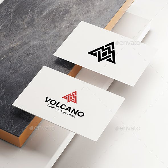 Abstract Volcano Mountain Logo Letter V