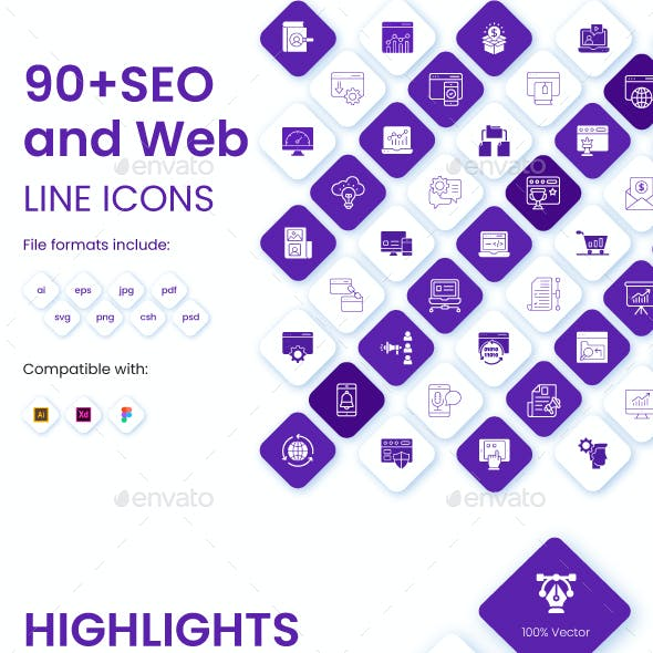90+ Set of SEO and Web Icons