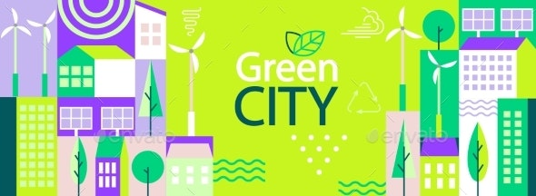 Green City Banner in Simple Geometric Flat Style - Nature Conceptual
