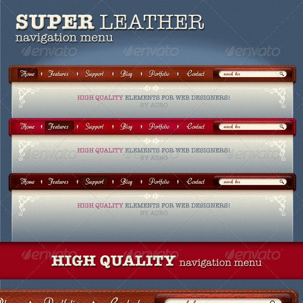 3 x High Quality Leather menu