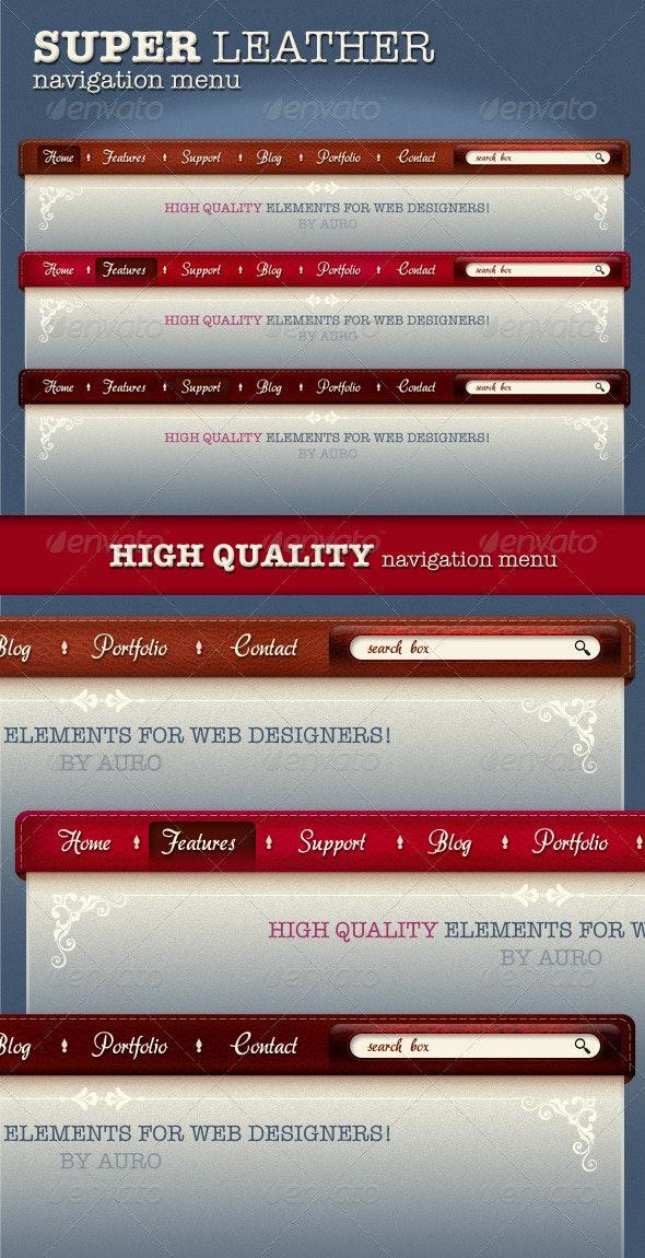 3 x High Quality Leather menu - Navigation Bars Web Elements