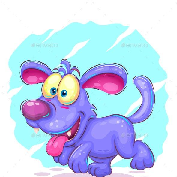 Blue puppy walking