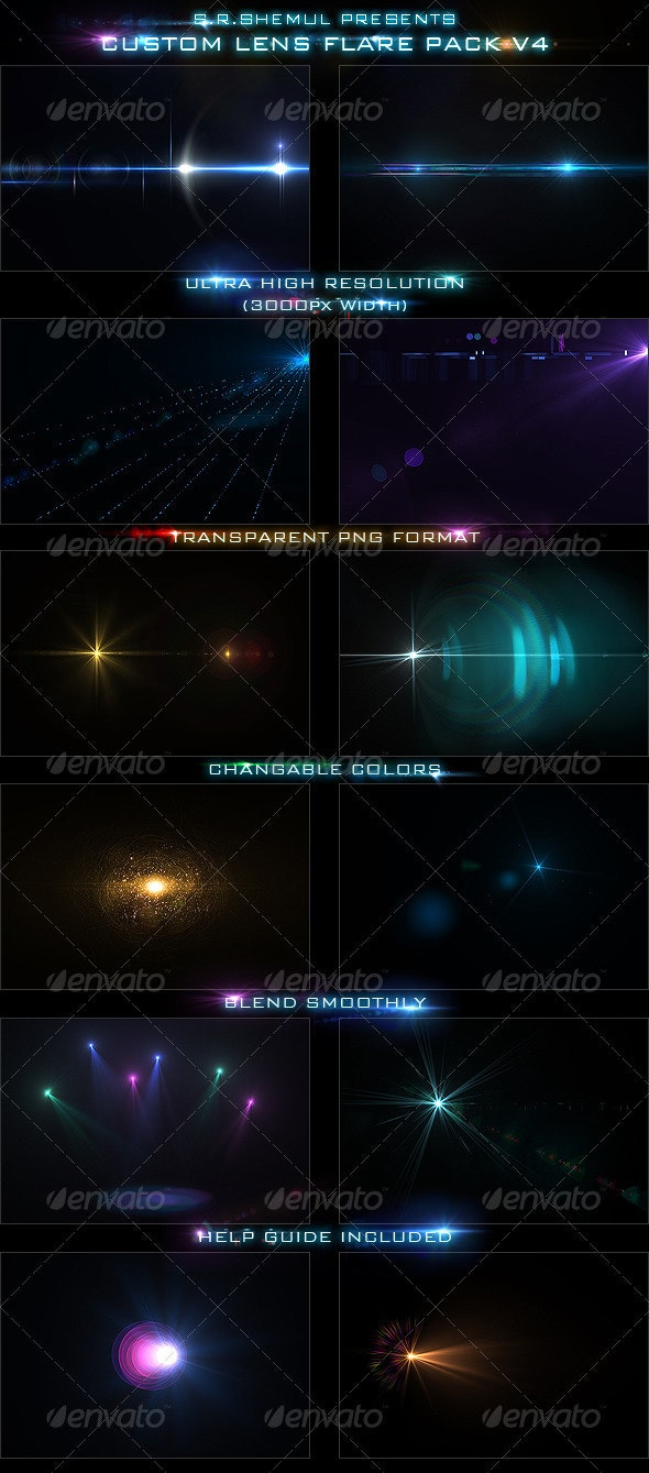 Custom Lens Flare Pack V4 - Abstract Backgrounds