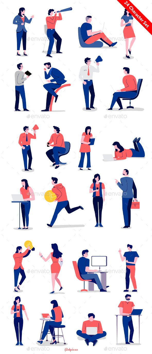Business Character Set for Animation - Characters Vectors