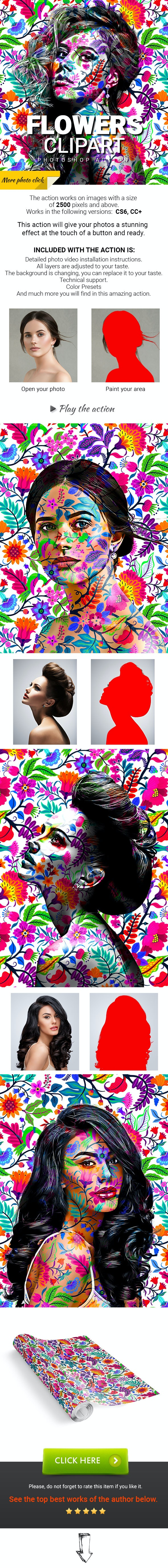 Flowers Clipart Photoshop Action - Photo Effects Actions