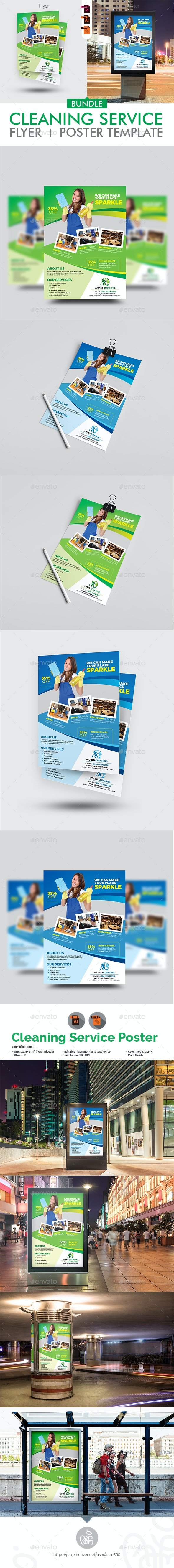 Cleaning Services Flyer With Poster Bundle - Corporate Flyers