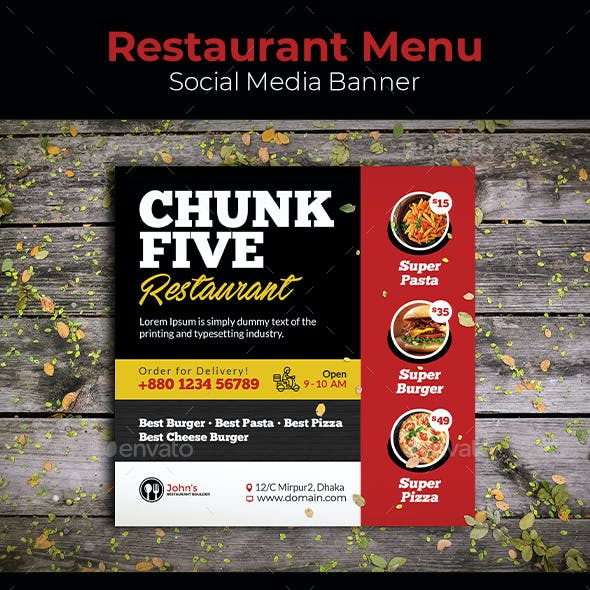 Restaurant Menu Social Media Banner
