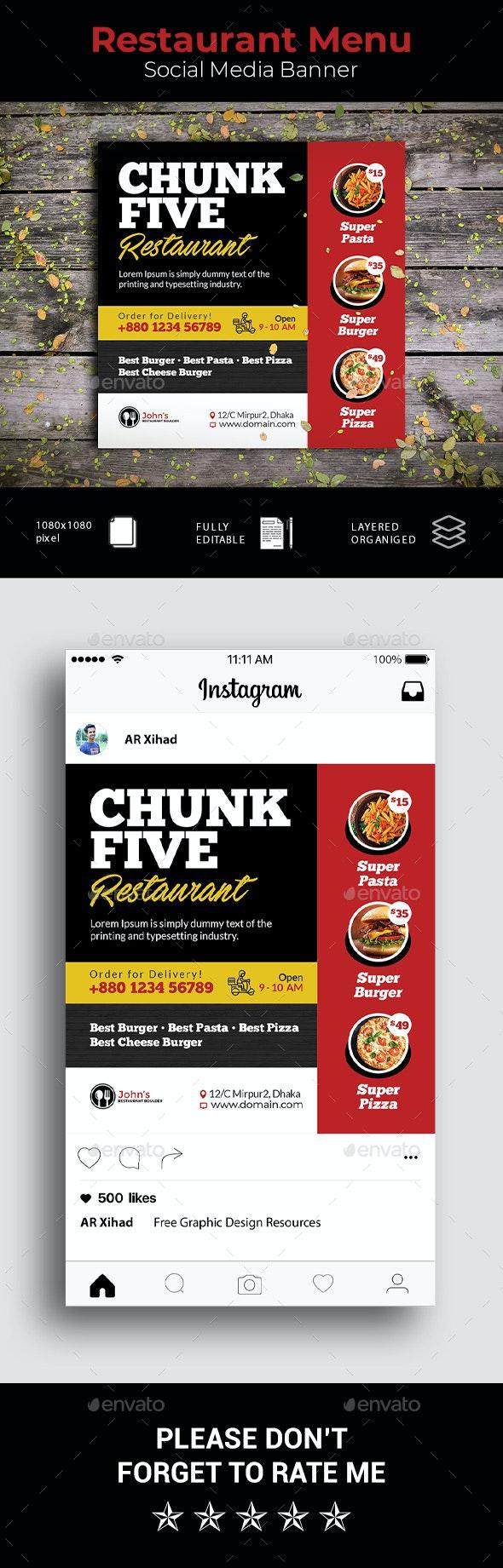 Restaurant Menu Social Media Banner - Social Media Web Elements