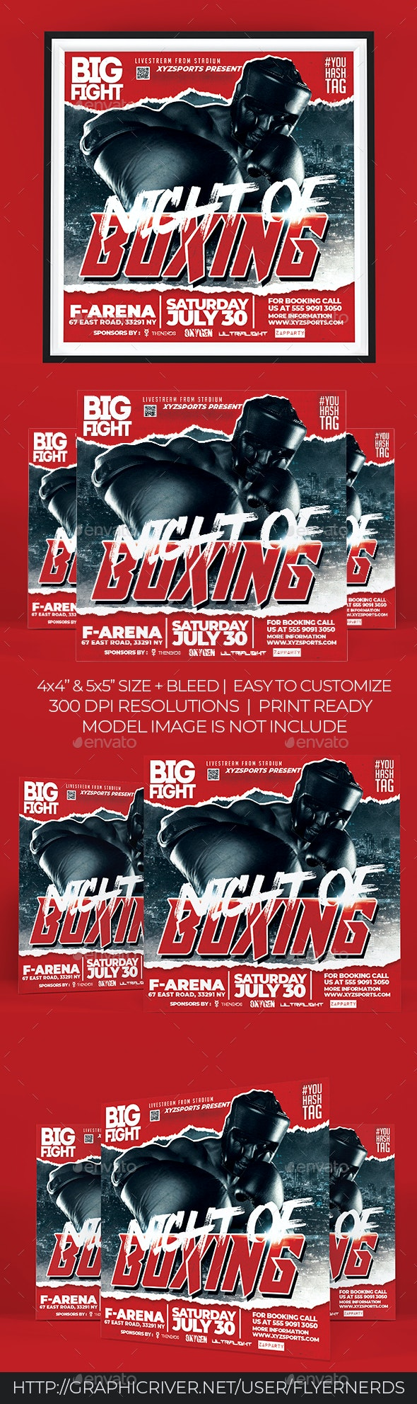 Boxing Night Flyer - Sports Events