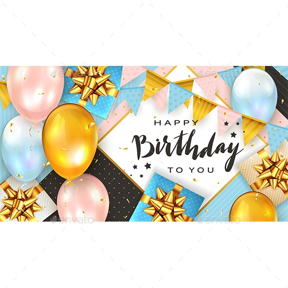 Birthday Balloons and Gift Boxes on Pink and Blue Background - Birthdays Seasons/Holidays