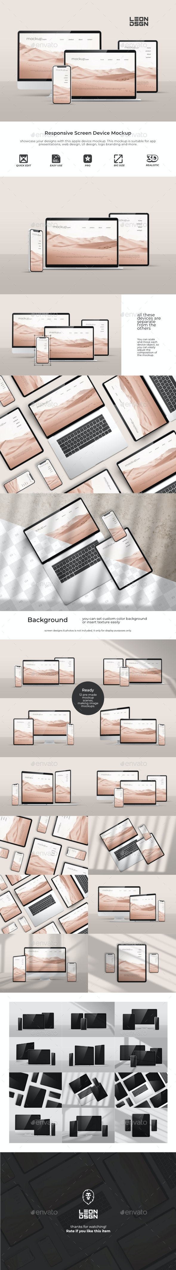 Responsive Screen Device - Mockup - Displays Product Mock-Ups