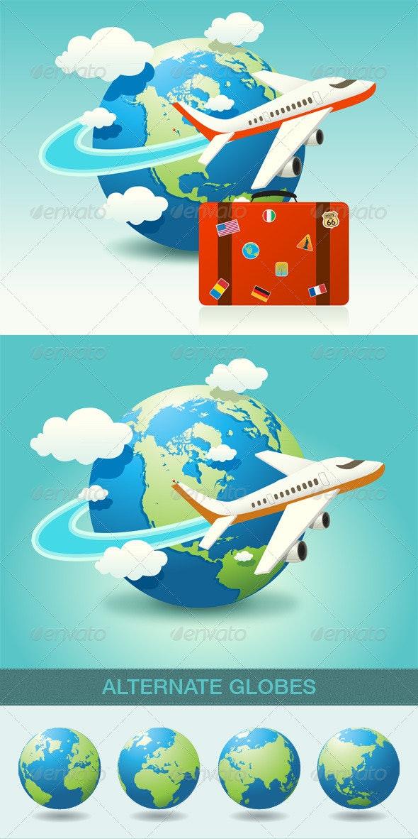 Airplane Travel Icon - Travel Conceptual