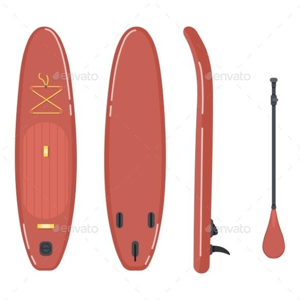 SUP Board  Vector Flat Llustrations Set - Seasons/Holidays Conceptual