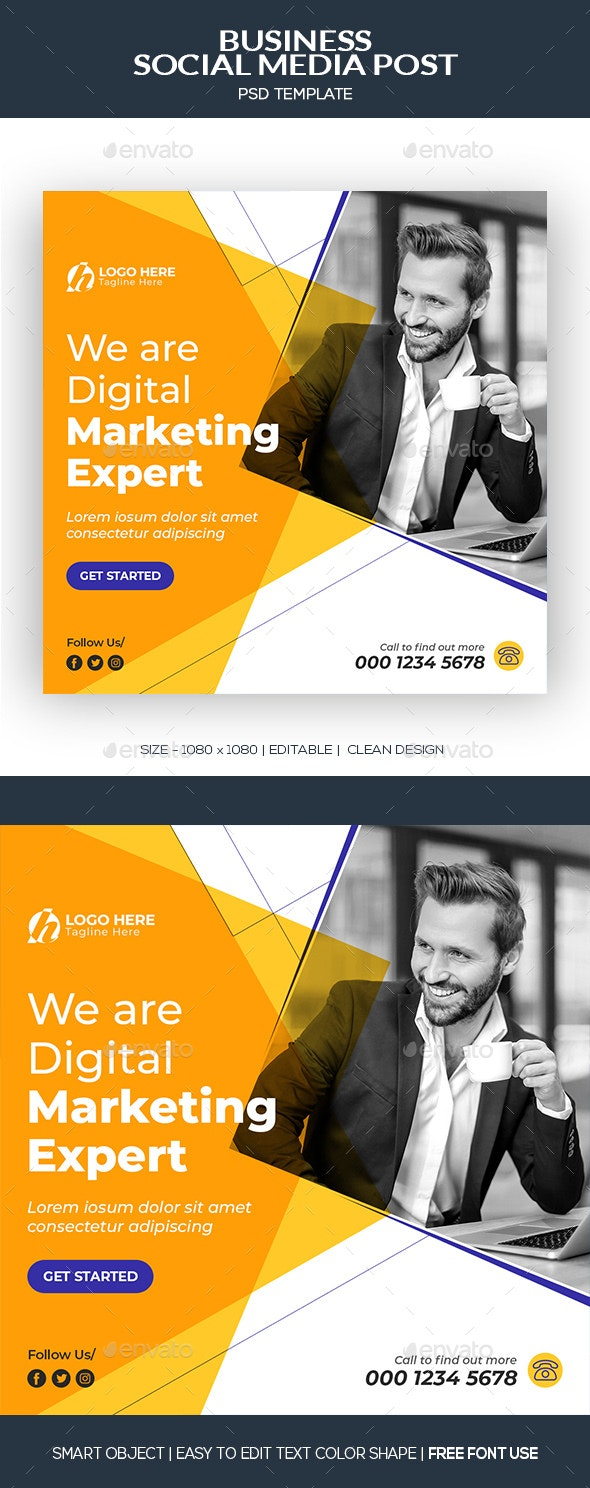 Business Social Media Post Banner Template - Social Media Web Elements