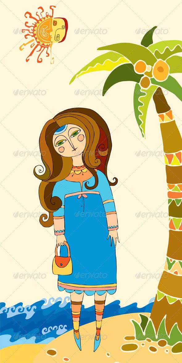 Girl Palm Sea Sun Summer - People Characters