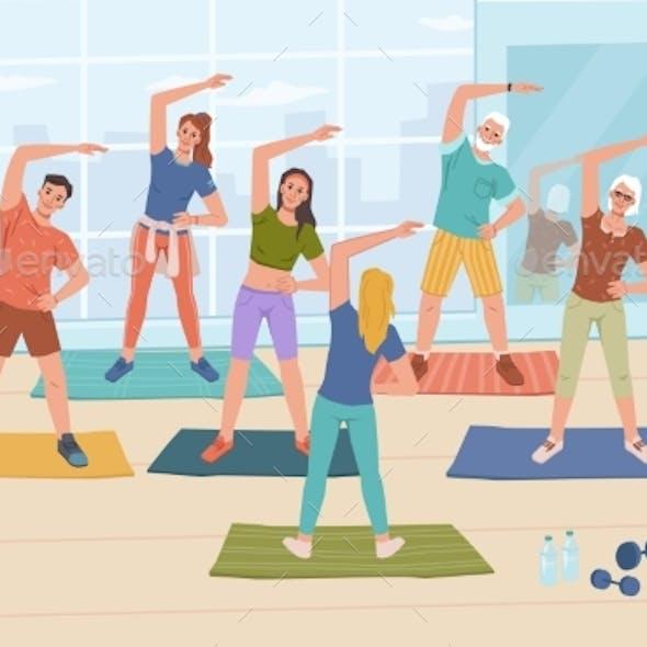 Yoga Fitness Classes in Sport Gym Training Women