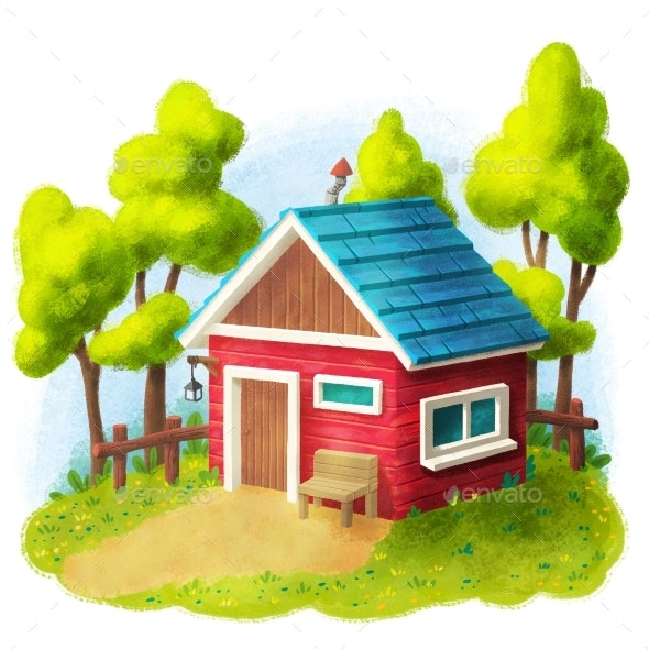 Red House With Garden - Miscellaneous Illustrations