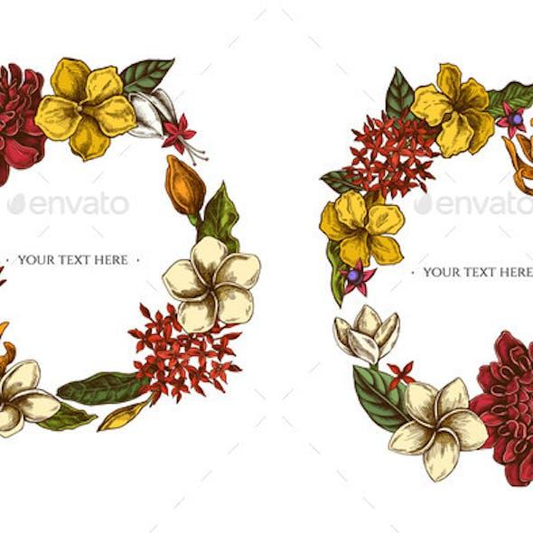 Floral Wreath of Colored Plumeria Allamanda