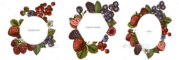 Frames with Colored Strawberry Blueberry Red - Food Objects