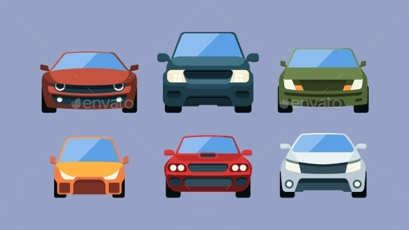 Cars Front View - Objects Vectors