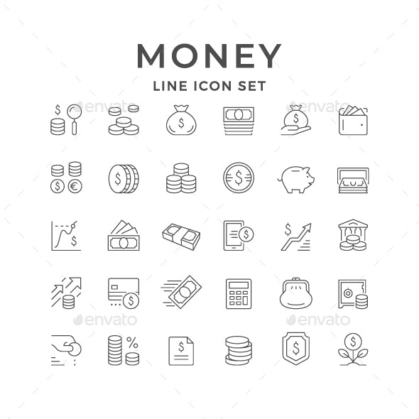 Set Line Icons of Money - Man-made objects Objects