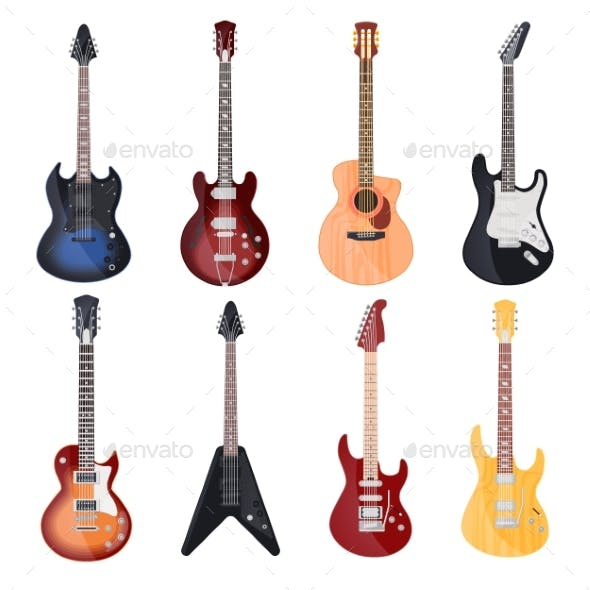 Guitars Different Styles Electric and Rock Bass