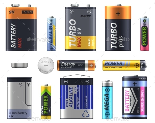 Battery Types Set AA and AA Sizes and Models - Man-made Objects Objects