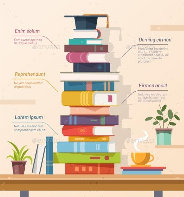 Books and Graduation Cap Education Infographics - Miscellaneous Vectors