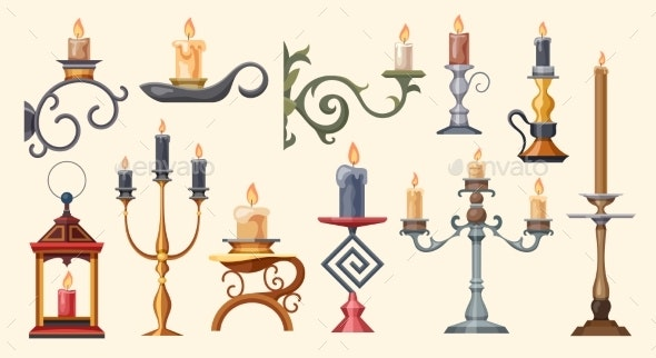 Candlesticks Candle Holders and Candelabra Lights - Objects Vectors
