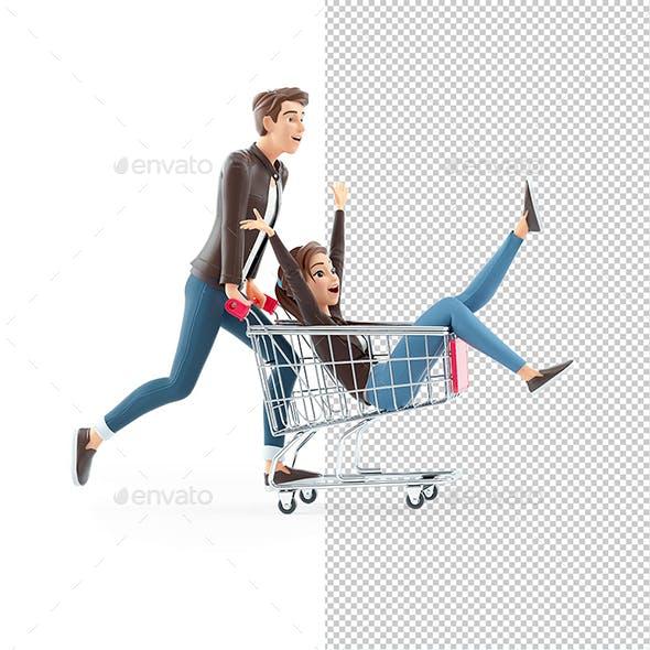 3D Cartoon Man Pushing Woman inside Shopping Cart