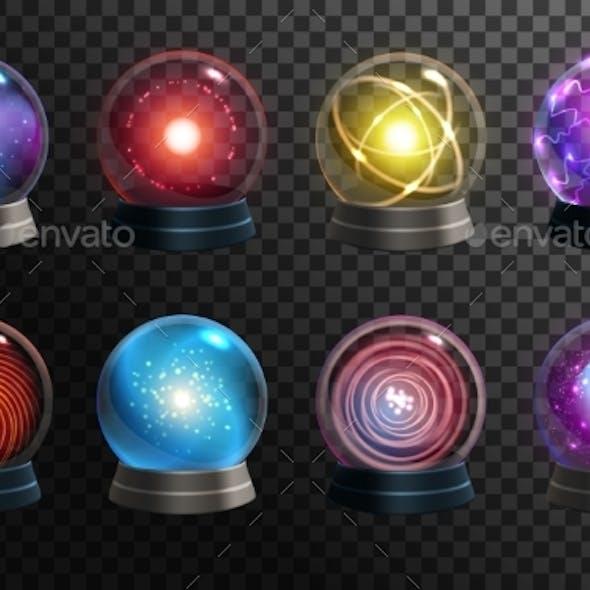 Magic Crystal Balls on Transparent Background