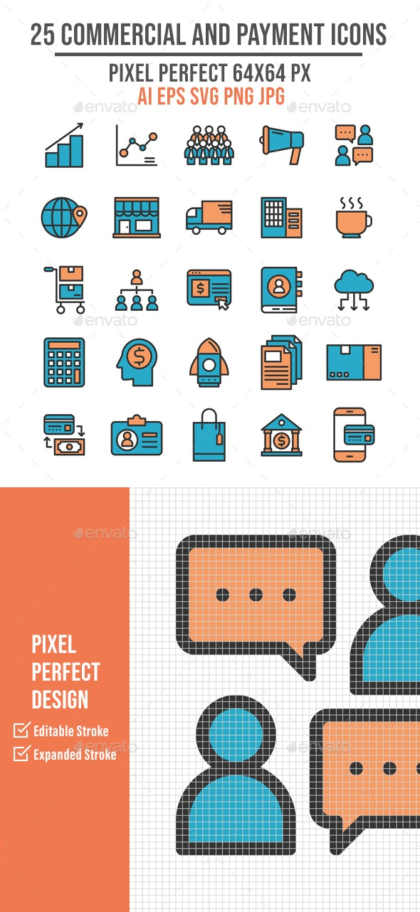 25 Commercial and Payment Flat Line Icons - Business Icons