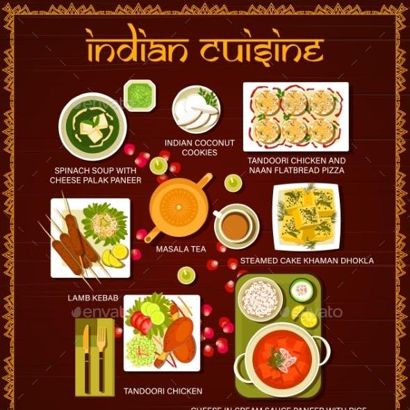 Indian Food Restaurant Meals Vector Menu