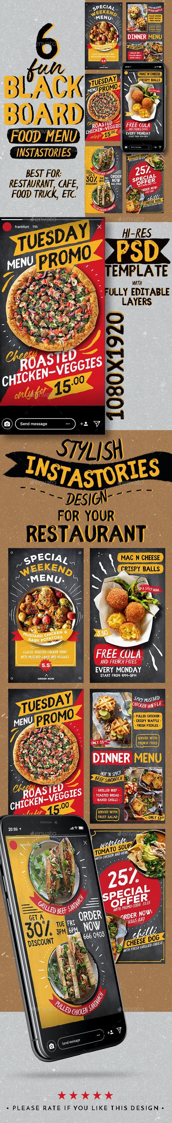 Fun Blackboard Food Menu Instagram Stories - Social Media Web Elements