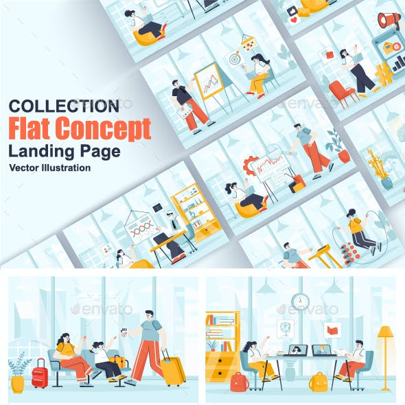 Flat Web Illustration Scenes Pack