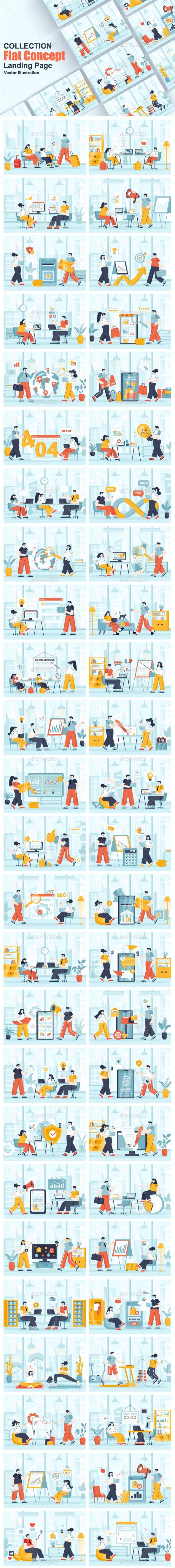 Flat Web Illustration Scenes Pack - Web Elements Vectors