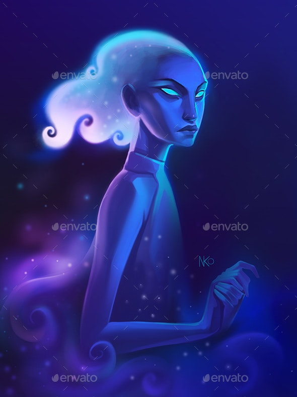 Nebula Girl in Space Despair - Characters Illustrations