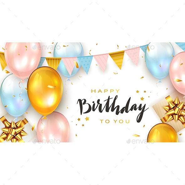 Birthday Balloons and Gift Boxes on White Background - Birthdays Seasons/Holidays