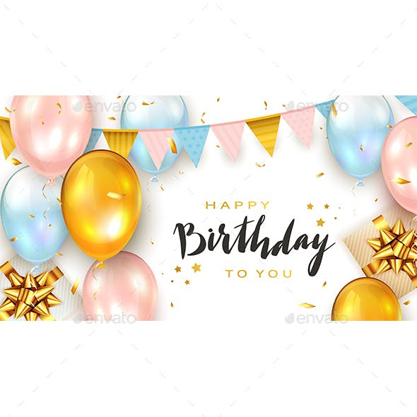 Birthday Balloons and Gift Boxes on White Background