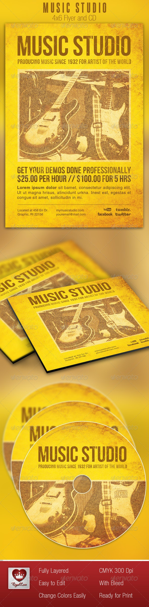 Music Studio Flyer and CD Template - Miscellaneous Events