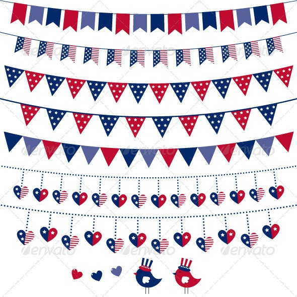 American flag themed vector bunting and garland se - Seasons/Holidays Conceptual
